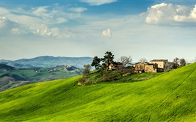 Italy, slope, grass, house, trees, clouds HD wallpaper