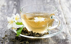 Jasmine tea, drink, cup, desk HD wallpaper