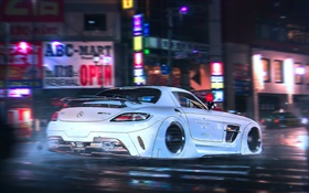Mercedes-Benz SLS AMG supercar flight, high speed, night HD wallpaper