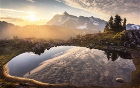 Mountains, pond, water reflection, dawn, sunrise HD wallpaper