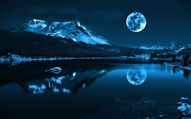 Night, moon, lake, mountains, reflection, stones HD wallpaper