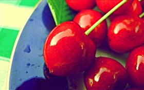 Red cherries close-up, fresh fruit HD wallpaper