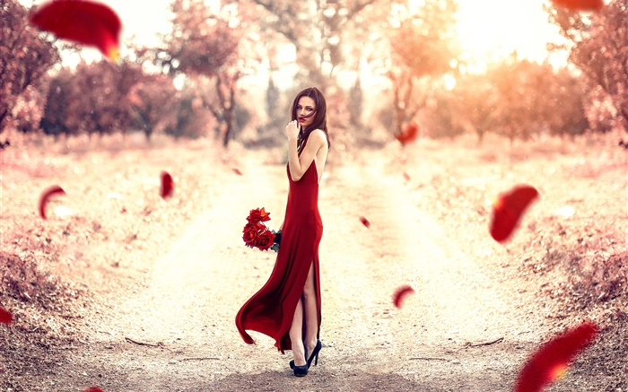 Red dress girl, rose petals, sun Wallpapers Pictures Photos Images