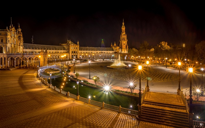 Seville, Spain, square, buildings, night, lights Wallpapers Pictures Photos Images