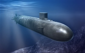 Submarine, underwater, sea HD wallpaper