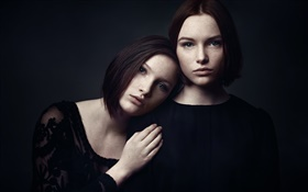 Two girls, portrait, freckles HD wallpaper