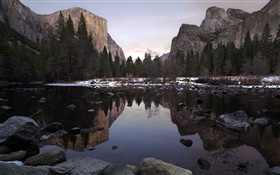Yosemite Park, valley, mountains, lake, trees, stones HD wallpaper