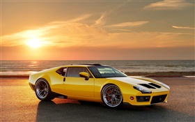 1971 Ringbrothers DeTomaso Pantera yellow supercar HD wallpaper