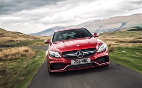 2015 Mercedes-Benz AMG C63 UK-spec red car front view HD wallpaper