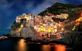 Amalfi, Italy, night, coast, city, rocks, house, lights, boats HD wallpaper