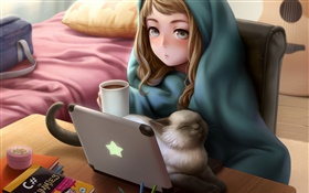 Anime girl use laptop, room, cat, tea HD wallpaper