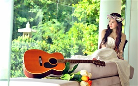 Asian music girl, white dress, guitar, tulips HD wallpaper