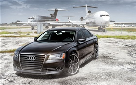 Audi sedan, black car, airplanes, airport HD wallpaper