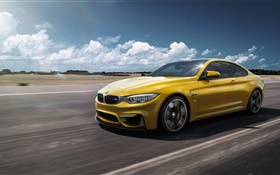 BMW M4 F82 yellow car speed