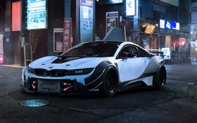 BMW i8 white race car, city, night