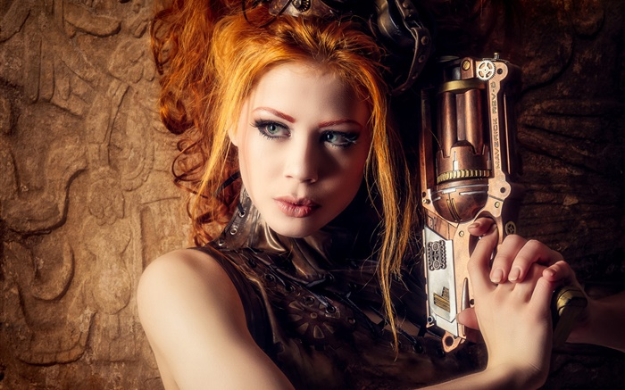 Beautiful blonde girl, weapon, steampunk style Wallpapers Pictures Photos Images