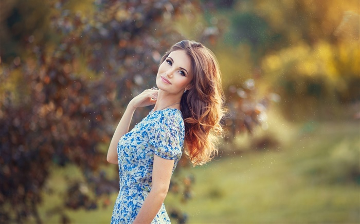 Beautiful woman, blue dress, bokeh Wallpapers Pictures Photos Images