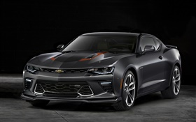Chevrolet Camaro gray car front view HD wallpaper