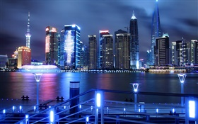 China, Shanghai, city night, skyscrapers, lights, river HD wallpaper