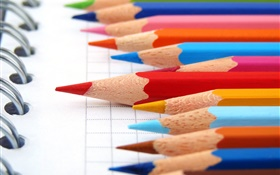 Colorful pencils, notebook HD wallpaper