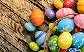 Easter eggs, colorful, wood board, basket HD wallpaper