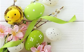 Easter, holiday decorating, eggs, willow twigs, flowers, spring HD wallpaper