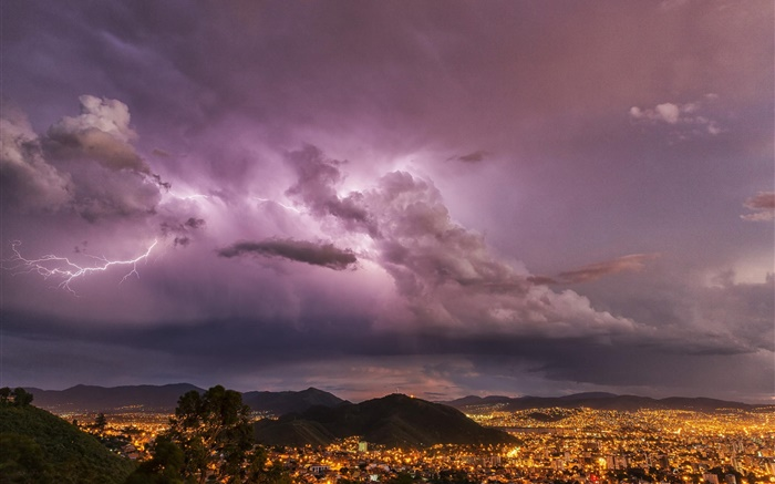 Evening, lightning, clouds, city, lights, storm Wallpapers Pictures Photos Images