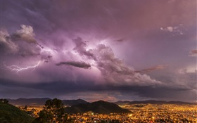 Evening, lightning, clouds, city, lights, storm HD wallpaper