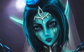 Fantasy girl, blue skins, tears HD wallpaper