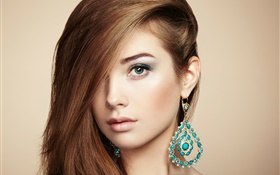 Fashion young girl, jewelry accessories HD wallpaper