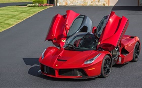 Ferrari LaFerrari red supercar, doors opened HD wallpaper