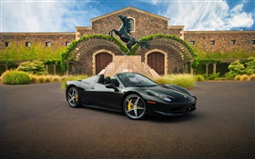 Ferrari black supercar, house HD wallpaper