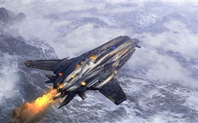 Flight ship, art, fighter, clouds HD wallpaper