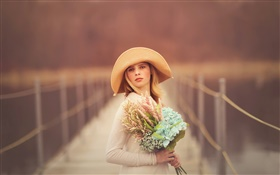 Girl at bridge, blonde, hat, portrait, flowers HD wallpaper