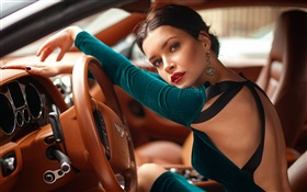 Girl driving Bentley car HD wallpaper