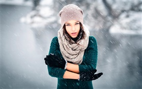 Girl in cold winter, snow, wind, gloves, hat HD wallpaper