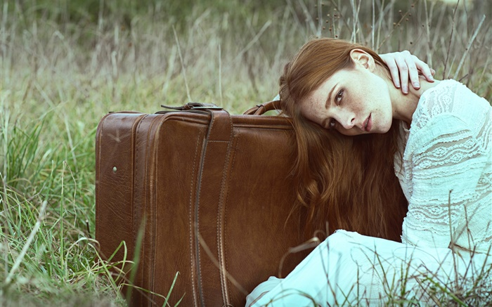 Girl in the grass, white dress, suitcase Wallpapers Pictures Photos Images
