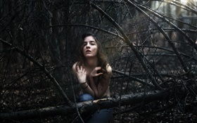 Girl lost in the forest HD wallpaper