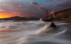 Golden Gate Bridge, Marshall Beach, sea, USA, San Francisco, night, clouds