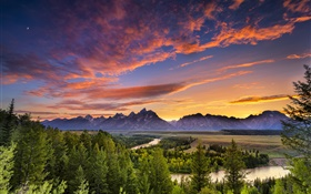 Grand Teton National Park, USA, mountains, river, trees, clouds, sunset HD wallpaper