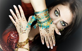 Green eyes girl, makeup, hands, jewelry, Indian HD wallpaper