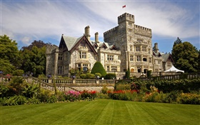 Hatley Castle, Canada, house, park, flowers, lawn HD wallpaper