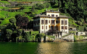 Italy, Como lake, house, villa, hillside HD wallpaper