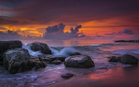 Khao Lak Beach, Thailand, sea, sunset, stones HD wallpaper