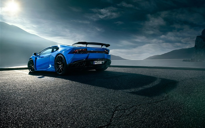 Lamborghini Huracan Blue Supercar Rear View Clouds Wallpapers Pictures Photos Images