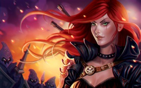 League of Legends, PC game, red hair girl HD wallpaper