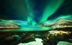 Lofoten Islands, Norway, Northern lights, mountains, sea, stones, night HD wallpaper