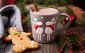 Merry Christmas, decoration, cookies, cup, coffee HD wallpaper