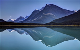 Mountains, lake, forest, water reflection, sky HD wallpaper