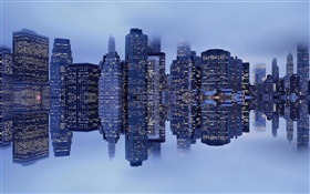 New York, Manhattan, USA, buildings, fog, reflection